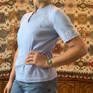 Vintage pastel blue white embroidered graphic tee